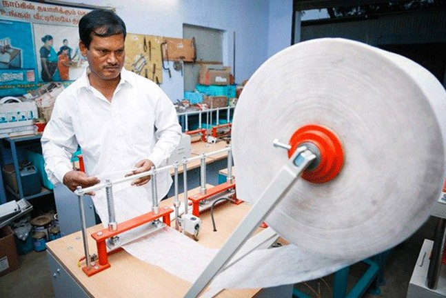 Padman with his low-cost Sanitary pad machine
