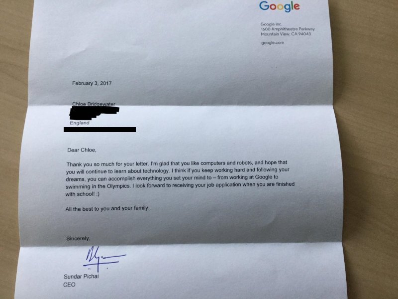 Here's CEO Sundar Pichai Reply to 7-Yr-Old Who Wants Job At Google  20 – Chloe google letter