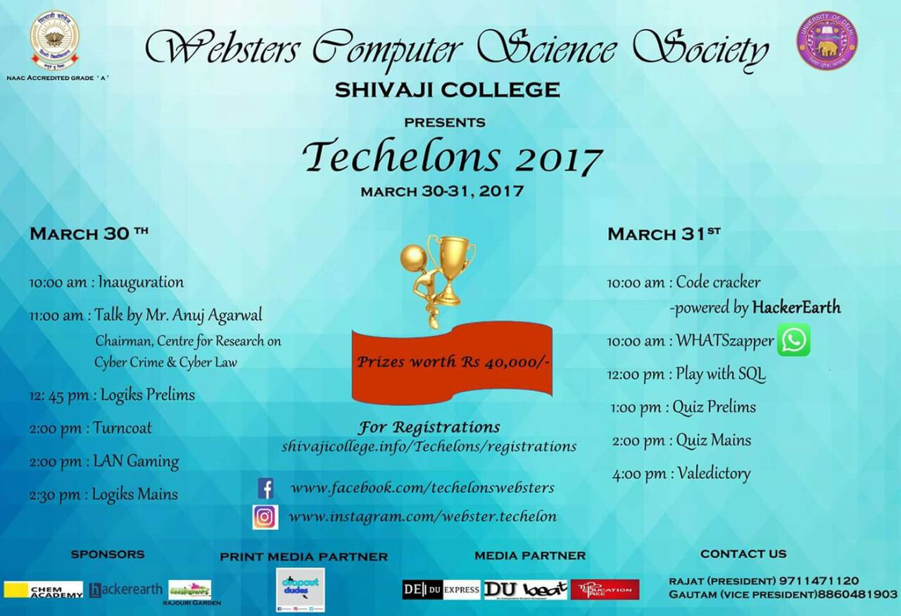 TECHELONS 2017 - Annual Technical Fest Shivaji College  9 – Shivaji College