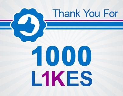 1000 likes – Thank You! 1 – facebook likes