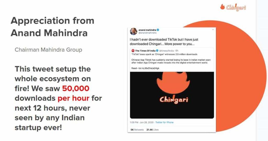 Chingari app download by Anand Mahindra